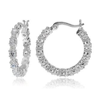Icz Stonez Silver Cubic Zirconia Round Hoop Earrings
