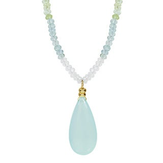 14k Yellow Gold Aquamarine Chalcedony Drop 17 Inch Necklace