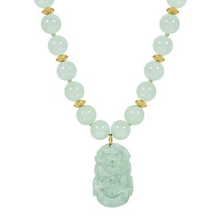 14k Gold and Jade Carved Dragon Pendant Necklace