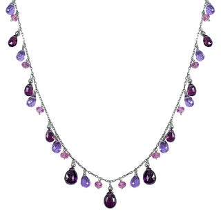 14k White Gold Multi Amethyst Tourmaline Rhodolite 18-inch Necklace