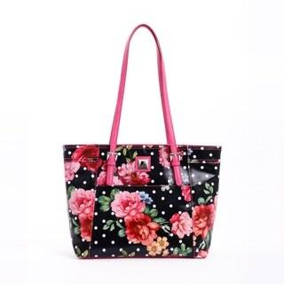 Joanel Black Floral Tote Bag