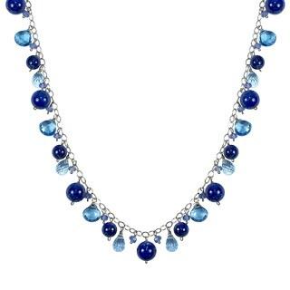 14K Blue Topaz Tanzanite Lapis 17-inch Drop Necklace