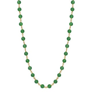 14k Yellow Gold Jade 18-inch Beaded Necklace
