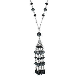 14k White Gold Spinel/Hematite/Black Onyx Tassel Necklace