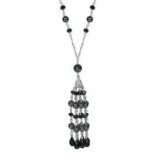14k White Gold Spinel/Hematite/Black Onyx Tassel Necklace
