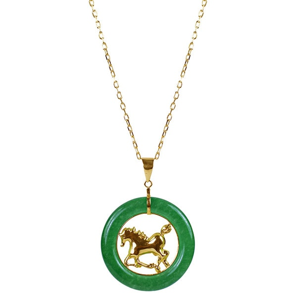 Shop 14k Yellow Gold Green Chinese Jade 18 Inch Zodiac Horse