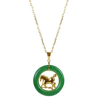 14k Yellow Gold Green Chinese Jade 18-inch Zodiac Horse Necklace
