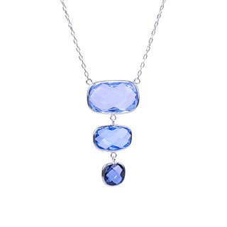 14k White Gold Triple-cushioned Multicolored Blue Topaz 18-inch Pendant Necklace