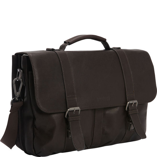 Kenneth Cole Reaction Colombian Leather 15-inch Flapover Laptop Messenger Briefcase