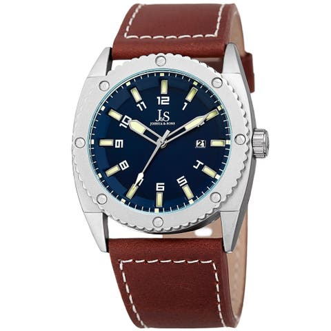 Joshua & Sons Men's Quartz Easy-to-Read Date Blue Leather Strap Watch