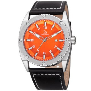 Joshua & Sons Men's Quartz Easy-to-Read Date Orange Leather Strap Watch