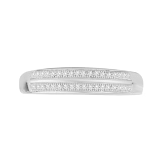 Trillion Designs Sterling Silver 1/10ct TDW Diamond Cluster Wedding Band (H-I, I1-I2)