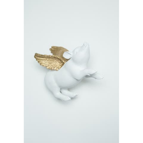 "Interior Illusions Plus Angel Pig Wall Mounted White/Gold - 8"" long"