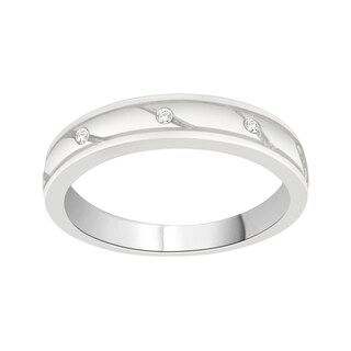 Trillion Designs Sterling Silver Diamond Accent Cluster Wedding Band