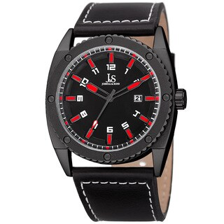 Joshua & Sons Men's Quartz Easy-to-Read Date Red Leather Strap Watch