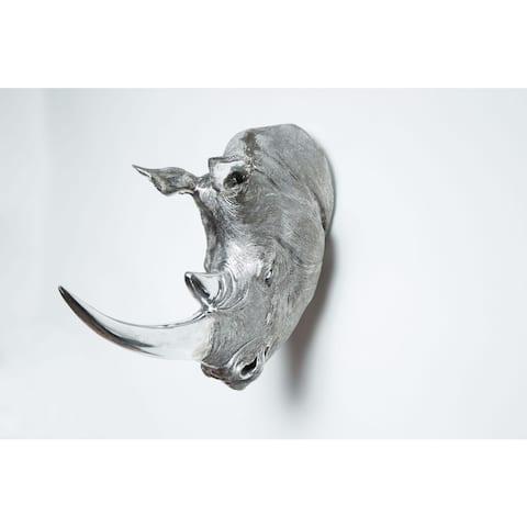 "Interior Illusions Plus Silver Rhino Head Taxidermy - 18"" long"