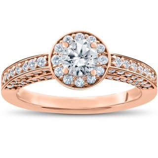 14k Rose Gold 1 ct TDW Diamond Halo Engagement Ring (I,J-I2,I3)