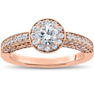 14k Rose Gold 1 ct TDW Diamond Halo Engagement Ring