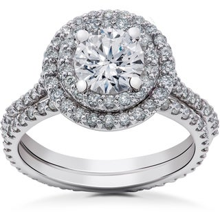 14k White Gold 2ct TDW Round Double Halo Eco-Friendly Lab Grown Diamond Engagement Ring & Matching Eternity Band (F-G, SI1-S12)