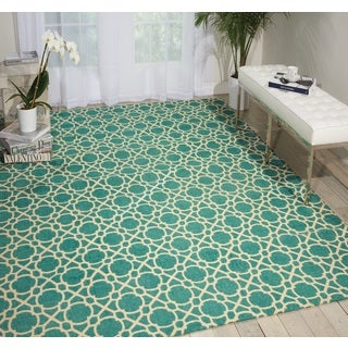 Waverly Color Motion Perfect Fit Teal Area Rug (8' x 10') by Nourison