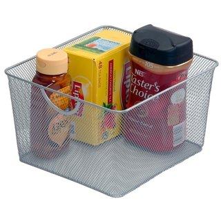 Ybm Home Silvertone Stainless Steel Mesh Open Storage Basket