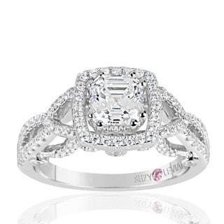 Suzy Levian Sterling Silver Asscher Cut White Cubic Zirconia Engagement Ring