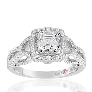 Suzy Levian Sterling Silver Asscher Cut White Cubic Zirconia Engagement Ring|https://ak1.ostkcdn.com/images/products/12319590/P19152575.jpg?impolicy=medium