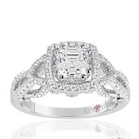 Suzy Levian Sterling Silver Asscher Cut White Cubic Zirconia Engagement Ring