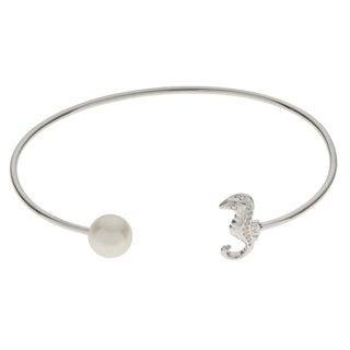 Pearls For You Sterling-silver 8-8.5-millimeter White Freshwater Pearl 6.5-inch Seahorse Bangle Bracelet