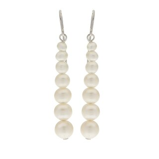 Pearls For You Sterling Silver Graduated White Freshwater Pearl 3- to 6.5-millimeter Earrings