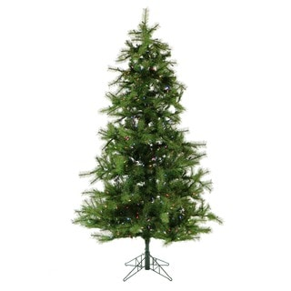 Fraser Hill Farm 12-foot Southern Peace Green Metal/Plastic Pine Christmas Tree with Multicolored LED String Lighting