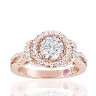 Suzy Levian Rose Sterling Silver White Cubic Zirconia Engagement Ring (More options available)