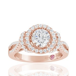 Suzy Levian Rose Sterling Silver White Cubic Zirconia Engagement Ring