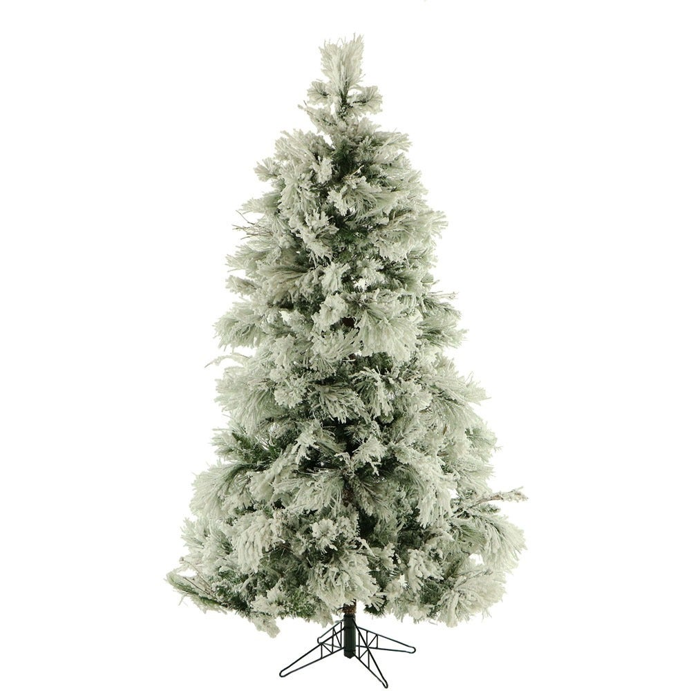 Fraser Hill Farm 9 Foot Flocked Snowy Pine Christmas Tree