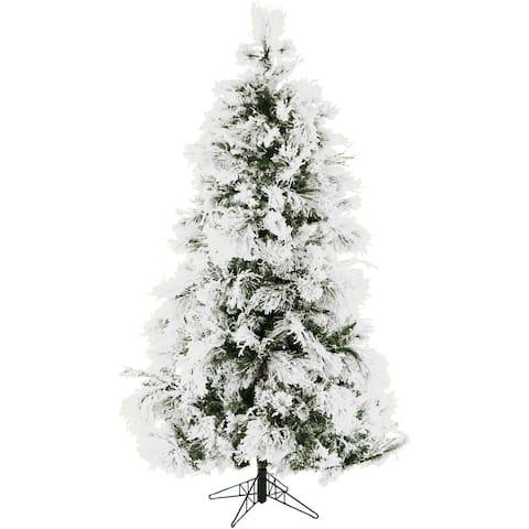Fraser Hill Farm 9-foot Flocked Snowy Pine Christmas Tree
