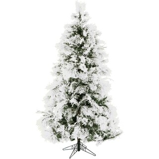 Fraser Hill Farm 9-foot Flocked Snowy Pine Christmas Tree