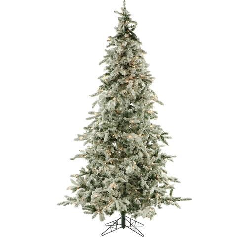 Fraser Hill Farm White 7.5-foot Flocked Mountain Pine with Smart String Lighting