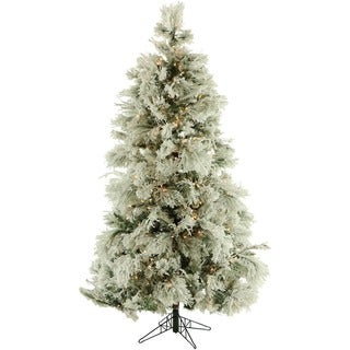 Fraser Hill Farm 7.5-foot Flocked Snowy Pine Artifical Christmas Tree With Clear LED Lighting