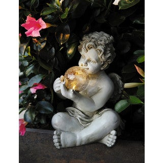 Boy Angel Off-white Polyresin/Fiberglass Solar Led Ball