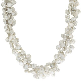 Pearls For You 18-inch Sterling Silver 3-string Keshi Freshwater Pearl Necklace
