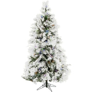 Fraser Hill Farm 12-Foot Flocked Snowy Pine Christmas Tree with Multicolor LED String Lighting
