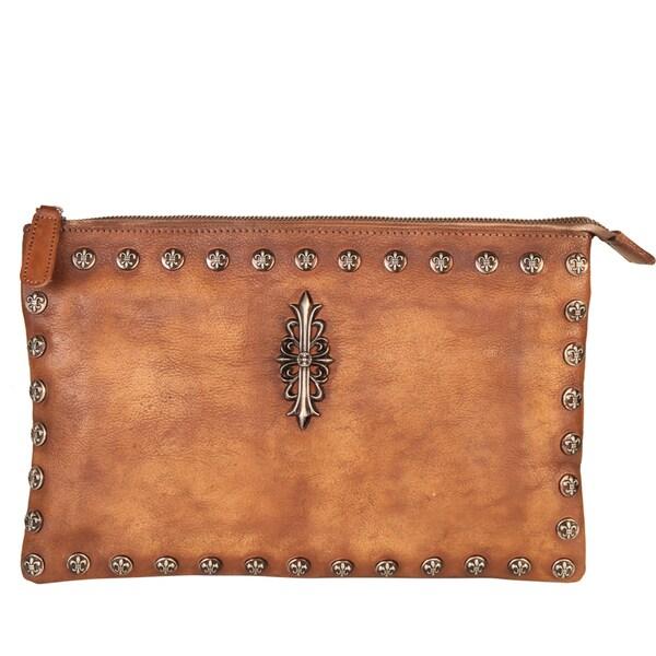 Diophy Vintage-dye Stud Genuine Leather Clutch