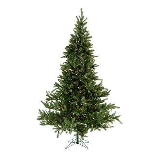 Fraser Hill Farm 7.5-foot Noble Fir Christmas Tree with Clear LED String Lighting