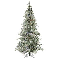 Fraser Hill Farm White Plastic 7.5' Flocked Mountain Pine Tree with Multi-Color LED String Lighting