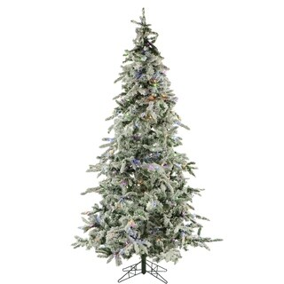 Fraser Hill Farm White Plastic 7.5' Flocked Mountain Pine Tree with Multi-Color LED String Lighting