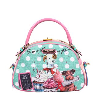 Nicole Lee Cupcake Dog Print Bowler Handbag