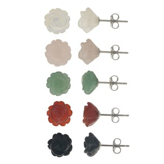 Gems For You Sterling Silver Multi-Gemstone 5-pair Flower Stud Set
