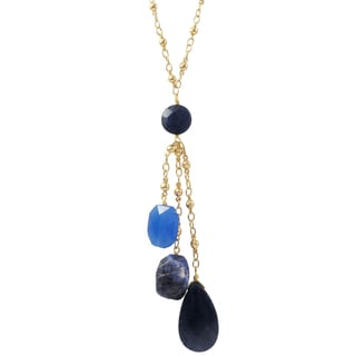 Luxiro Gold Finish Blue Jade and Sodalite Semi-precious Gemstone Tassel Necklace