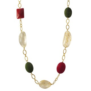 Luxiro Gold Finish Coral, Jade and Rutilated Quartz Semi-precious Gemstone Necklace