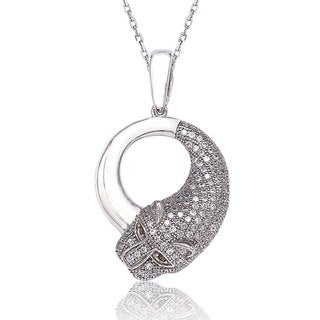 Suzy Levian Sterling Silver White Cubic Zirconia Tiger Pendant Necklace